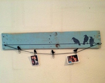 Birds on a Wire Blue Rustic Wood Picture Display Board
