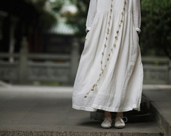 off white linen dress, maxi dress, loose fitting dress, plus size dress, long linen dress
