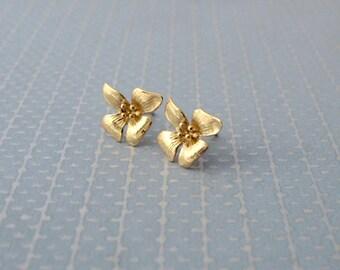 Flower Stud Earrings, Gold Stud Earrings