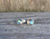 Labradorite stud earrings - sterling silver - handmade