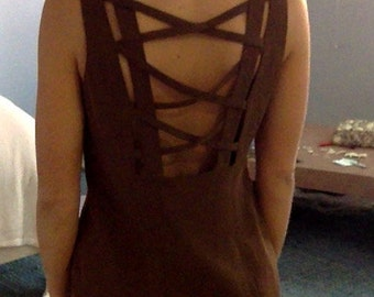 Brown cage back dress with front slit