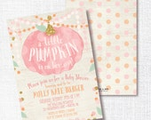 PINK little PUMPKIN is on her way fall girl baby shower sprinkle invite pink gold invitation rustic watercolor  party