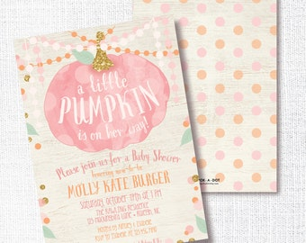 Pink little Pumpkin Is On Her Way Invitation, Printable, Fall Girl Baby Shower Invite, Sprinkle, Pink and Gold Confetti