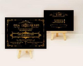 Gatsby wedding invitation sample - Art deco wedding invite sample {Galena Design}