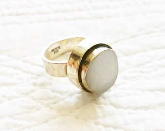 Vintage Bohemian Snow White Onyx and Sterling Silver Ring, Olives and Doves