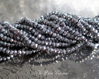 2 mm x 3 mm faceted rondelle crystal glass beads metallic antiqued silver pewter, full 15-inch strand, approximately 200 beads