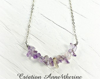 Necklace with gemstones :. Sterling silver - Birthstone - Simple - Delicate -