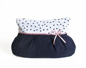 Cosmetic bag handmade fabric make-up bag blue dotted dots ribbon bow rose