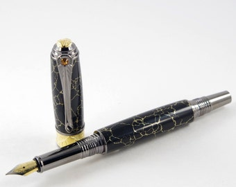Handmade Fountain Pen in Black with Gold Tru-Stone, Gift Pen , Handcrafted Fountain Pen, Pen, Ink Pen, Gift Pen, Handturned