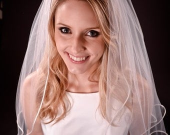 Full 1 tier wedding veil, elbow length, bridal veil, white, ivory or diamond white