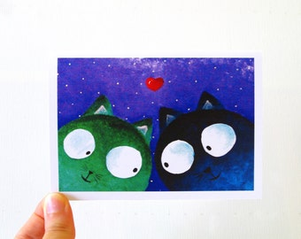 Valentines day card Boyfriend Birthday card Love cats cards Valentine card cats Valentines greeting cards Anniversary card for boyfriend