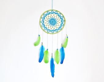 Dream catcher, crochet mandala, boho, nursery decor, crochet doily, wall hanging, large, green, turquoise, unique, handmade, for kids