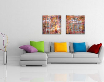 Collection of 2 abstract art prints printed on canvas - wedding gift idea