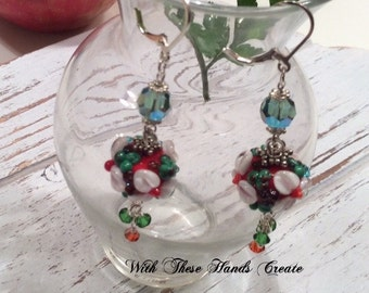 Red, White and Green Lampwork Floral Earrings, Italy,