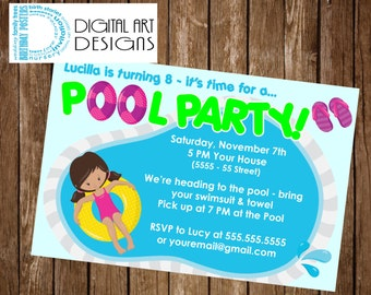 Pool Party Invitation - Pool Party Birthday Invite - Swimming Party - Swimming Birthday - Pool Party Invite - Swimming Birthday Invite