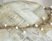 Pearl Necklace, Wire Jewelry, Unique Necklaces for Women, Freshwater Pearl Choker, Crochet Wire Jewelry
