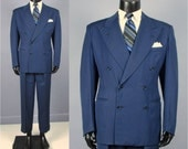RESERVED for Marhshall Vintage Suit -- 1940's Men's Double Breasted Suit -- Blue Mid Weight Gabardine -- 40/41
