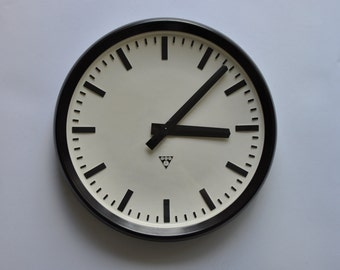 "19"" diameter Vintage Industrial Wall Clock from PRAGOTRON. 1960s. Black Rim. Czechoslovakia. Czech. 1185"