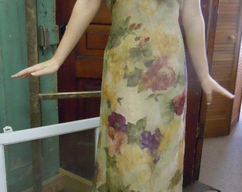 Yellow Floral Maxi Dress, Long Sleeveless Gold Dress w/Purple Floral, Women's Vintage Clothing Size 8
