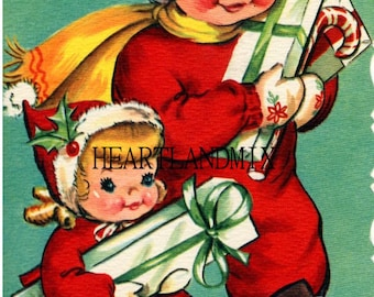 Vintage Christmas Children Shopping Wall Art Digital Image Download Printable