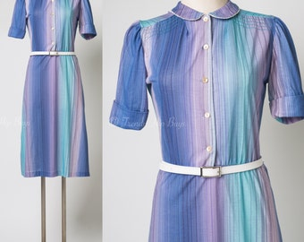Vintage 60s Dress, Vintage Purple Dress, Ombre Dress, Mad Men Dress, Pan Collar Dress, Stripe Dress, Summer Dress - S/M