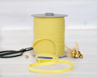 "Lemon Cotton Ribbon - 5, 20 or 109 Yards - 100% Cotton from Italy - 1/4"" wide - Lemon Color Ribbon - DIY Etsy Weddings - Eco Friendly Bulk"
