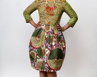 African clothing: The Remix T U L I P Dress made from Authentic Vlisco Dutch Wax