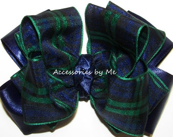 Tartan Hair Bow, Scottish Plaid Hair Band, Plaid Navy Blue Green Blackwatch Bow Band, Baby Girls Modern Clan Wedding Bows, Pageant Barrette