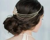 Rose Gold Hair Chain, Bridal Hair Chain Bohemian Hair Chain, Crystal Headpiece, Bridal Accessory, Gold Hair Chain, Chain Accessory, ARABELLA