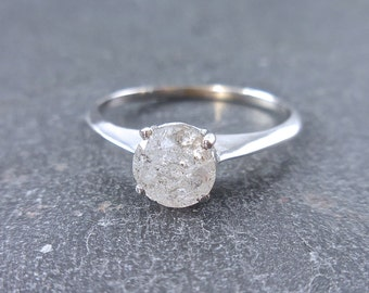 Custom Salt and Pepper Diamond Ring Three Prong Round