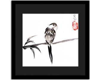 Zen bird print of  original sumi-e - with option of adding custom calligraphy