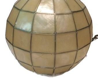Vintage Boho Swag Lamp Capiz Shell Style Orb Hanging Lamp Sphere Bohemian Chic Meets Coastal Cottage Chandelier Pendant Light Hanging Retro