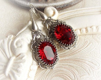 Siam red Swarovski crystal gothic earrings victorian vintage earrings red crystal dangle earrings renaissance antique silver earrings