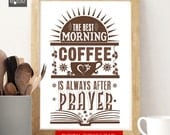 Kitchen Coffee Printable Print. Coffee digital Print for the kitchen- scripture quote art, motivational poster, wall decor. Christian art.