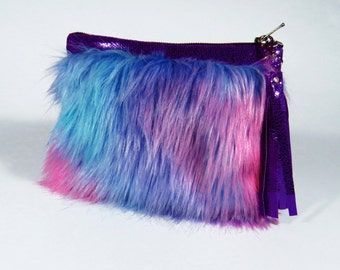 Purple Faux Fur Clutch Bag, Purple Clutch, Kawaii Bag, Party Clutch