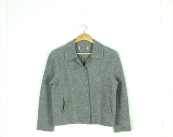 SALE!!Plain Grey Wool button down Jacket from 90's*