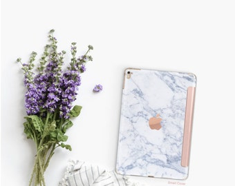 Marble Makrana White with Rose Gold Smart Cover Hard Case for iPad Air 2, iPad mini 4 , iPad Pro , New iPad 9.7 2017 - Platinum Edition