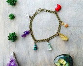 chakra bracelet - gemstone bracelet - charm bracelet - turquoise bracelet - jade bracelet - quartz bracelet - boho bracelet