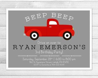 Vintage Pickup Truck Birthday Party Invitation, Printable Digital Invite File, Classic Truck, Vehicle