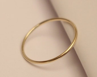 14k Stack Ring, 14k Yellow Gold Ring, 14k Thin Ring, 14k Skinny Ring, 14k Dainty Ring, 14k Midi Ring, Smooth Shiny