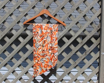 Psychedelic 70s mod scarf vintage orange geometric