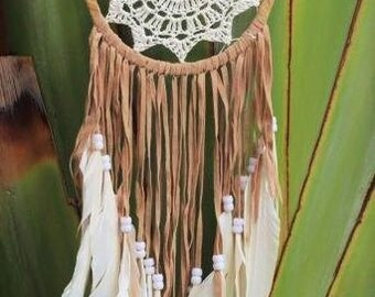 White  Crochet Dream Catcher with feathers and brown leather fringes