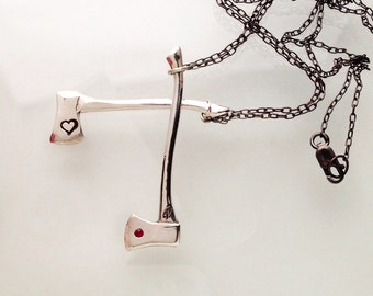 silver Love Axe necklace with ruby - camille hempel design