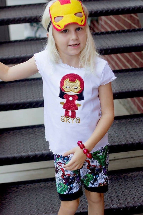 Iron Girl - Iron Man -  Super Hero Cutie Embroidered Shirt - Avengers