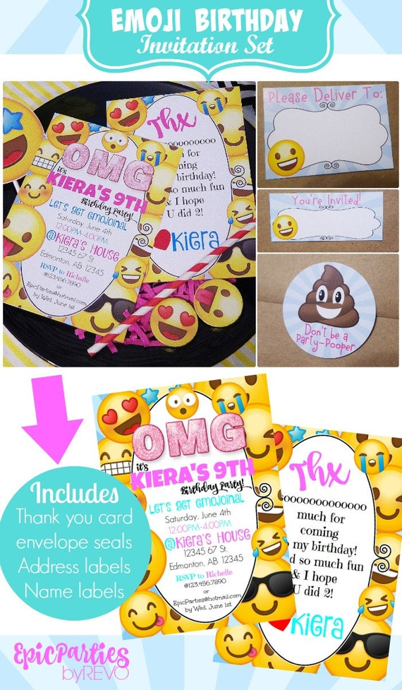 Emoji birthday printable emoji printable invitation emoji party il570xn stopboris Gallery