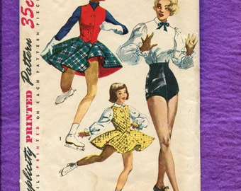 1950's Simplicity 4035 Tap Dance & Ice Skating Costumes Size 14 UNCUT