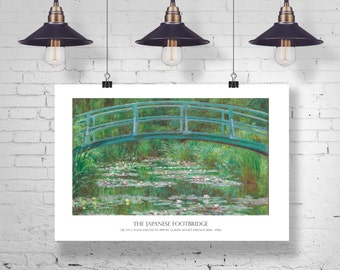 XL Fine Art Printable Poster Download. The Japanese Footbridge & Water Lillies by Claude Monet  36x24 in, 91x61 cm. Instant Download, CU OK