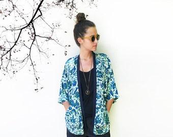 Summer Kimono, Beach Cover Up, Summer Cardigan, Summer Coverup, Floral Kimono Cardigan, Beachwear, Light Cardigan, Turquoise Kimono