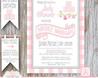 Baby Blocks Girl Shower Invitation Baby Girl Shower Invitation ABC Blocks Baby Shower Invitation Girl Pink and Gray DIY Printable - 041-002