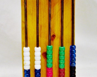 Old Fashion Abacus Handmade with 5 Metal Bars and 50 Beads-Superb Learning Tool!